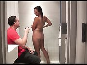 Busty milf fucking with young guy in the shower
