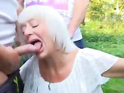 Outdoor oral sex amateur slut granny sucking many cocks