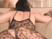 Hot Wife in Fishnet Fucked on the Couch