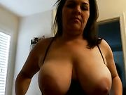 Busty chubby amateur wife cock swallow and fucking with cumshot